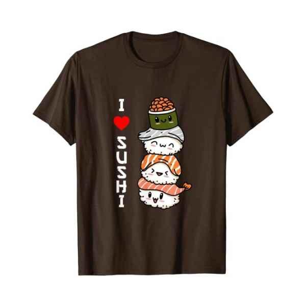 Amo Il Sushi Giappone Cibo Giapponese Maglietta marrone TuttoGiappone