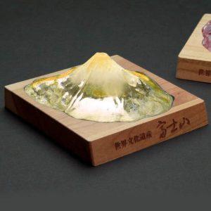 Soprammobile fermacarte in vetro cristallo riproduzione in scala Monte Fuji TuttoGiappone 0