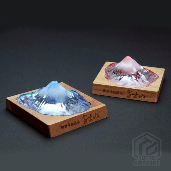 Soprammobile fermacarte in vetro cristallo riproduzione in scala Monte Fuji TuttoGiappone 1