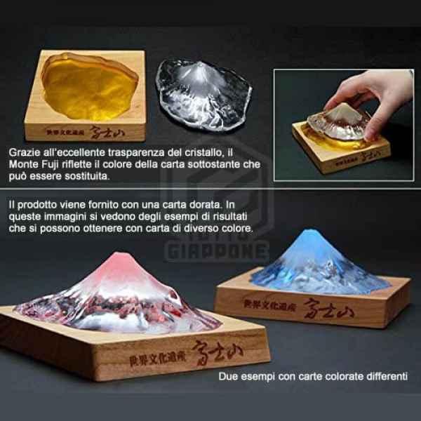 Soprammobile fermacarte in vetro cristallo riproduzione in scala Monte Fuji TuttoGiappone 4 ita