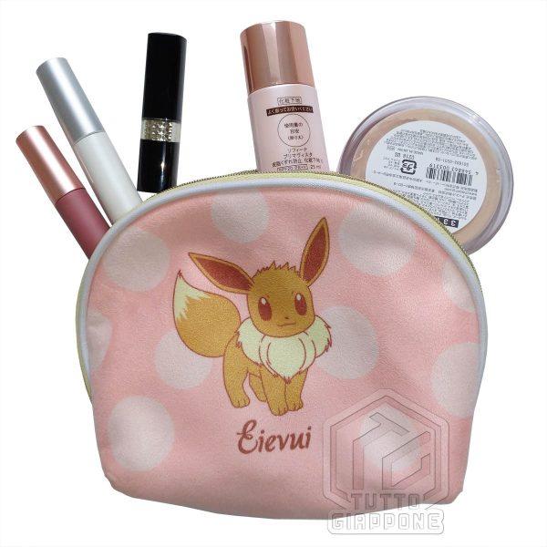 Pokemon morbido beauty case a conchiglia bicolore con Pikachu e Eevee 07 TuttoGiappone