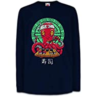 Urban Backwoods Octopus Sushi Bambini e Ragazzi Ragazze Maglia a Manica Lunga T-Shirt